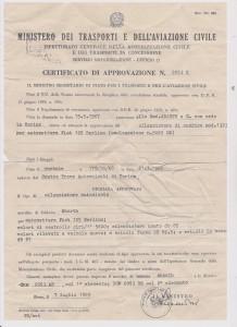 Fiat 125 Berlina 1st.series Certificato di approvazione, nr.1323