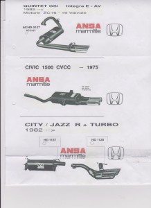 Honda Quinte-Civic-Jazz-City ANSA mufflers