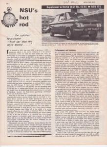 NSU 1000 TTS Roadtest Motor 1968 page 1